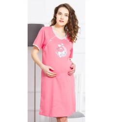 Dámska nočná košeľa materská s krátkym rukávom Šteňa na mesiaci
