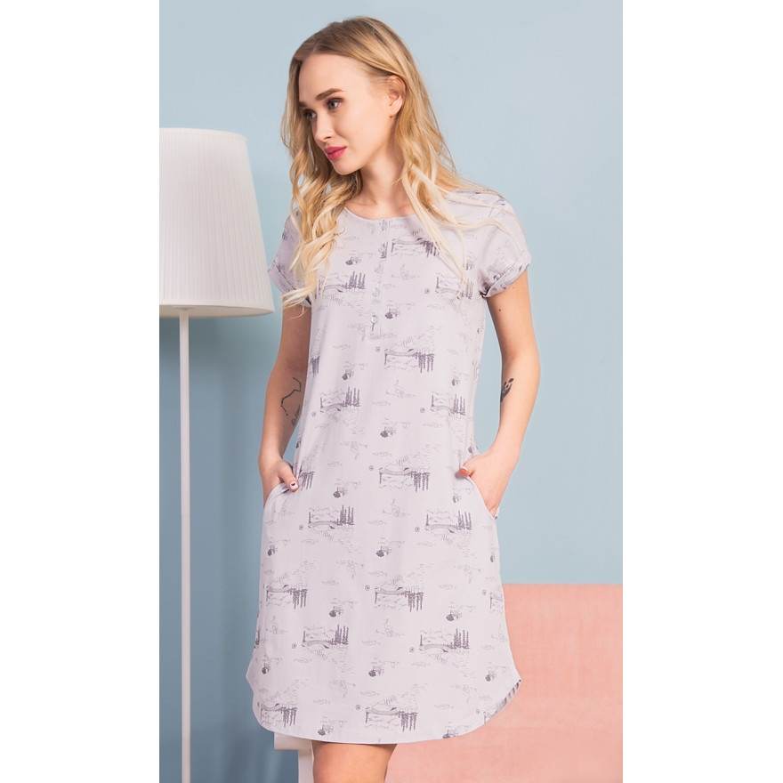 fbc87c9ecee7 Dámske domáce šaty s krátkym rukávom Lydia
