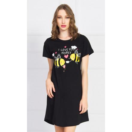 Dámská noční košile s krátkým rukávem Včely