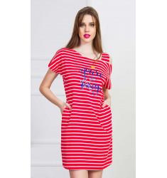 Dámske domáce šaty s krátkym rukávom Red sun