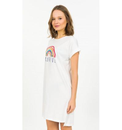 Dámska nočná košeľa s krátkym rukávom Colorful