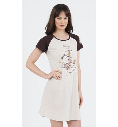 Dámska nočná košeľa s krátkym rukávom Macko