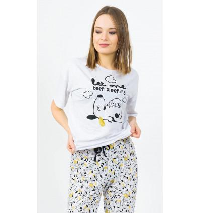Dámske pyžamo kapri Šteňa a mačiatko