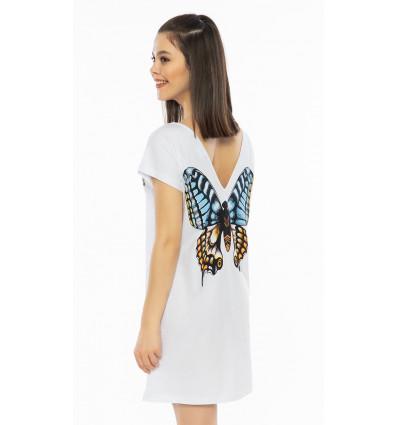 Dámska nočná košeľa s krátkym rukávom Veľký motýľ