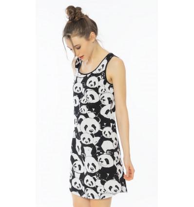 Dámska nočná košeľa na ramienka Pandy