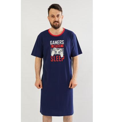Pánska nočná košeľa s krátkym rukávom Hra