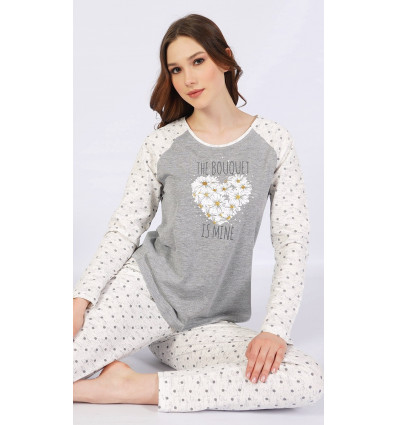 Dámske pyžamo dlhé Srdce z margarét